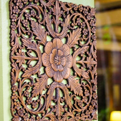 Thai Oriental Lotus Wood Carving Wall Art Hanging – Siam Sawadee With Wood Carved Wall Art Panels (View 19 of 20)