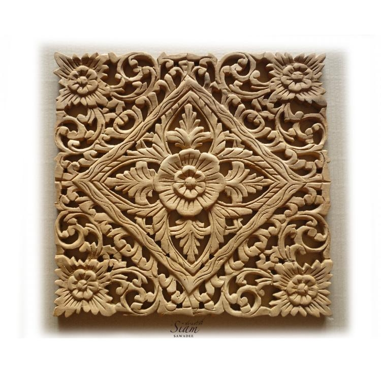 Thai Wood Carving Lotus Wall Art Panel – Siam Sawadee With Regard To Wood Carved Wall Art Panels (View 17 of 20)