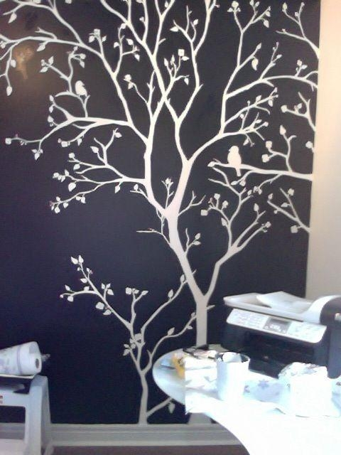 20 painted trees wall art wall art ideas for Black tree mural