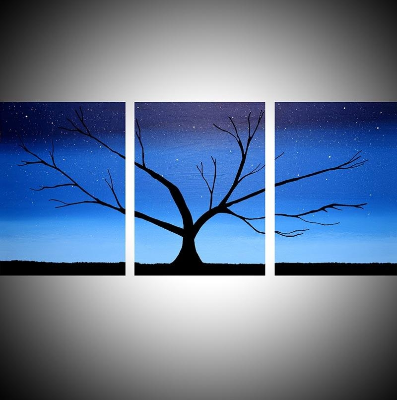 "The Blue Tree"" Acrylic Tree Painting,happy Tree Painter Within Triptych Art For Sale (View 13 of 20)"