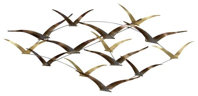 "The Flock Soaring Seagulls Metal Wall Sculpture 42"" – Contemporary Within Metal Wall Art Flock Of Seagulls (Image 16 of 20)"