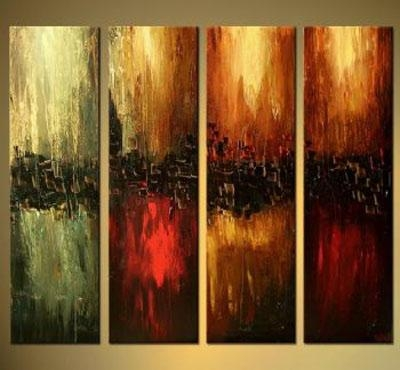 The Four Elements Modern Canvas Art Wall Decor Abstract Oil Throughout Elements Wall Art (Image 17 of 20)
