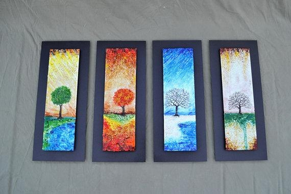 The Four Seasons Fused Glass Wall Art With Textured Relief With Fused Glass Wall Art (View 5 of 20)