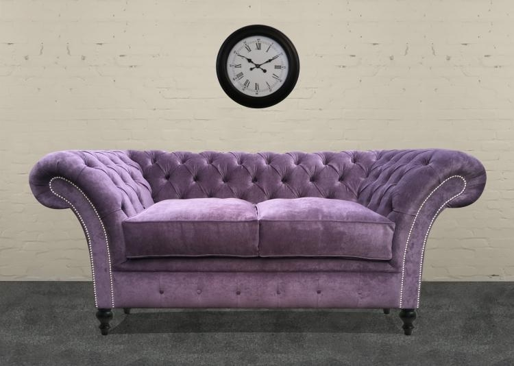 The London Chesterfield Sofa Bed In Crushed Velvet With Regard To Purple Chesterfield Sofas (Image 17 of 20)