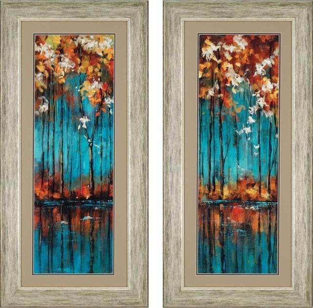 "The Mirror Artwork, Set Of 2, 22""x46"" – Contemporary – Prints And Within Mirrored Frame Wall Art (Image 16 of 20)"