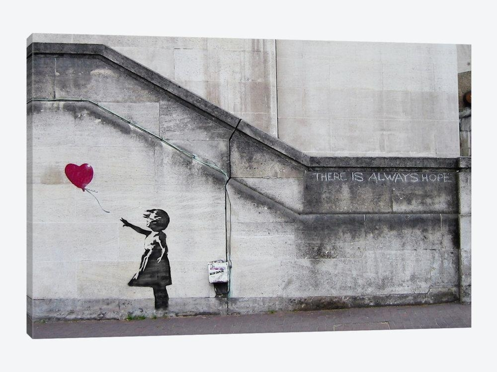 There Is Always Hope Balloon Girl Canvas Printbanksy | Icanvas With Regard To Banksy Canvas Wall Art (Image 18 of 20)