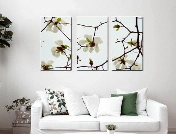 Three Panel Gallery Wrapped Canvas | White Magnolia Wall Art Decor In Large White Wall Art (Image 13 of 20)