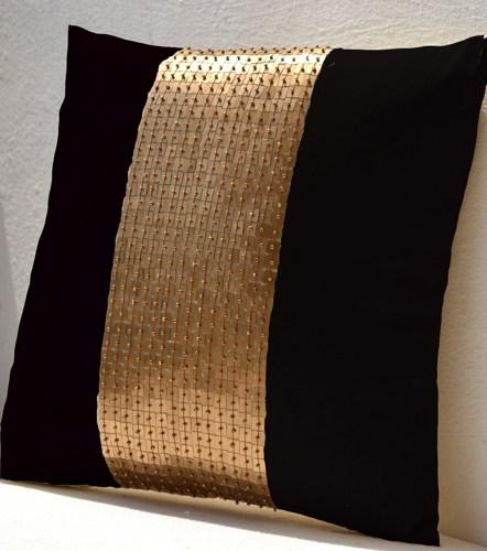 Throw Pillows – Black Gold Color Block In Silk And Sequin Bead In Gold Sofa Pillows (Image 18 of 20)