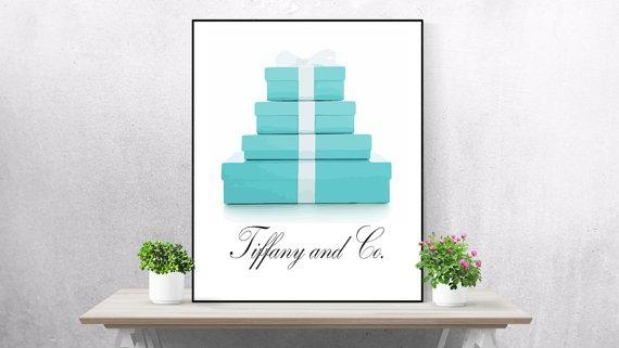Tiffany And Co Print Watercolor Set Of 2 Tiffany Wall Art For Tiffany And Co Wall Art (View 12 of 20)