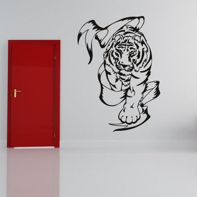 Tiger And Banner Wild Hunter Tribal Animals Wall Stickers Home Inside Animal Wall Art (Image 20 of 20)