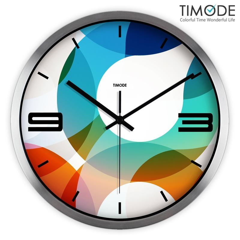 Timode Mute Wall Clock Fashion Art Watch Abstract Color Circle Throughout Abstract Wall Art With Clock (Image 10 of 20)