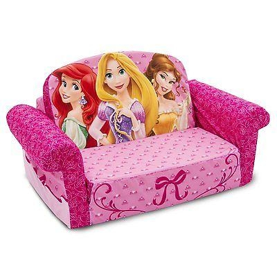 Toddler Flip Sofa Bed Kiley And Kenady On Their Disney Sofas From Intended For Disney Princess Sofas (Image 20 of 20)