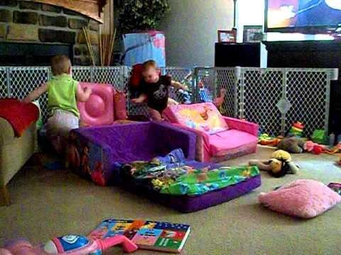 Toddler Flip Sofa Bed Kiley And Kenady On Their Disney Sofas From Within Disney Sofas (Image 19 of 20)