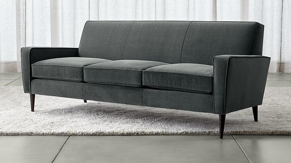 Torino Blue Velvet Modern Sofa | Crate And Barrel For Crate And Barrel Futon Sofas (Image 19 of 20)