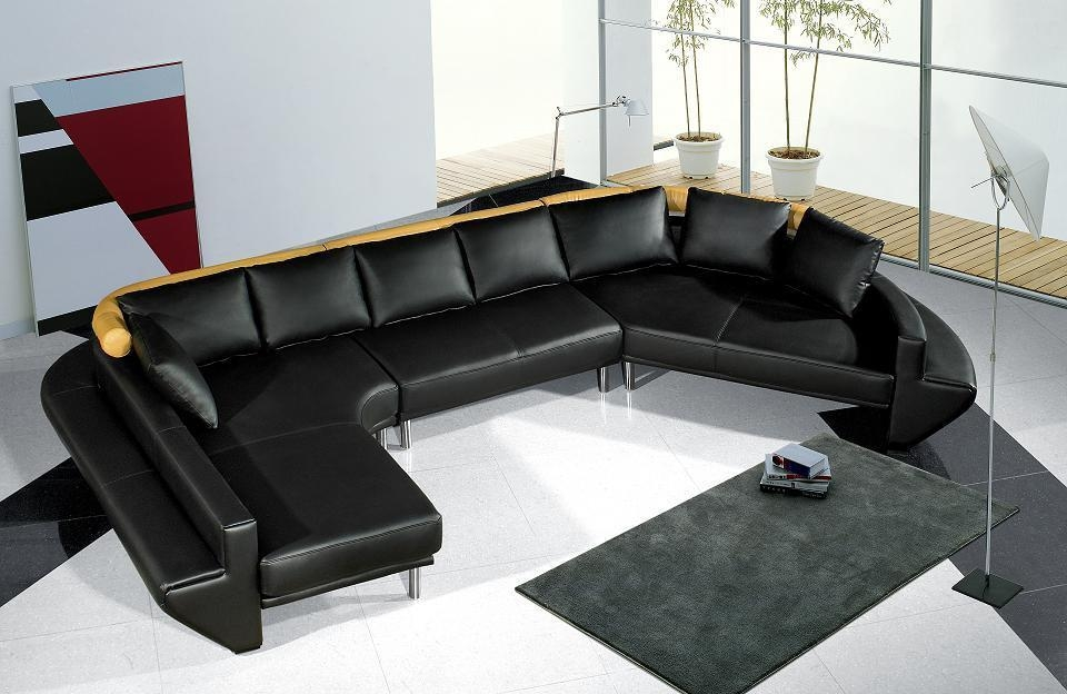 Tosh Furniture Ultra Modern Black Leather Sectional Sofa Set Regarding Black Modern Sectional Sofas (Image 18 of 20)