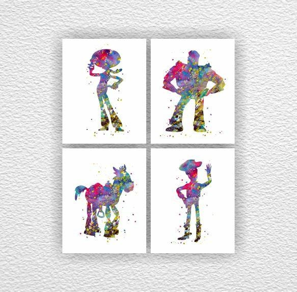 Toy Story Disney Watercolor Silhouette Prints Toy Story Wall Throughout Toy Story Wall Art (View 11 of 20)