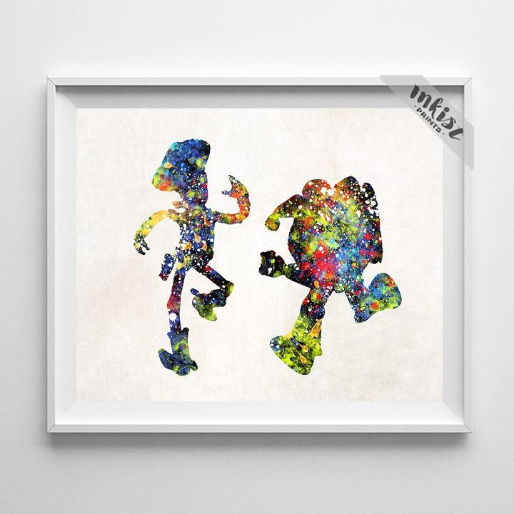 Toy Story Poster Buzz Watercolor Woody Poster Toy Story Pertaining To Toy Story Wall Art (View 3 of 20)