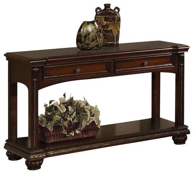 Transitional Cherry 2 Drawer Accent Sofa Console Table W/ Bottom Within Cherry Wood Sofa Tables (View 3 of 20)