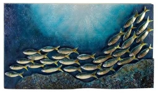 Travelling Fish Metal Wall Decor – Beach Style – Metal Wall Art With Regard To Fish Shoal Metal Wall Art (Image 17 of 20)