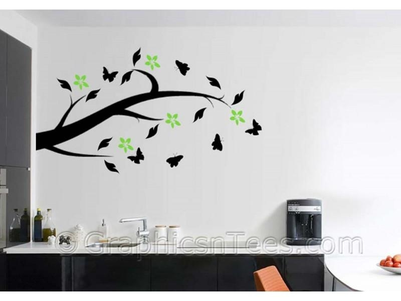 Tree Branch With Flowers And Butterflies, Home Wall Art Mural Throughout Tree Branch Wall Art (View 19 of 20)