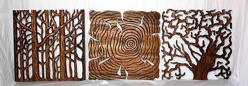 Tree Of Life Art, Thai Wall Decor Carved Wood Panel Solid|Through (Image 17 of 20)