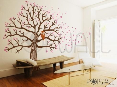 Tree Wall Decal Vinyl Wall Sticker Art Owl On Blossom Tree Regarding Vinyl Wall Art Tree (View 10 of 20)