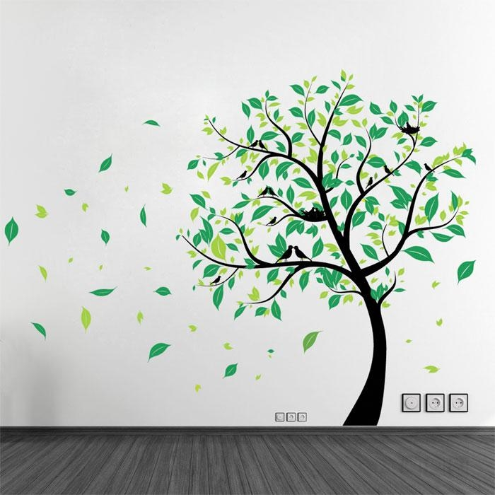 Tree With Birds Vinyl Wall Art Decal For Vinyl Wall Art Tree (View 3 of 20)