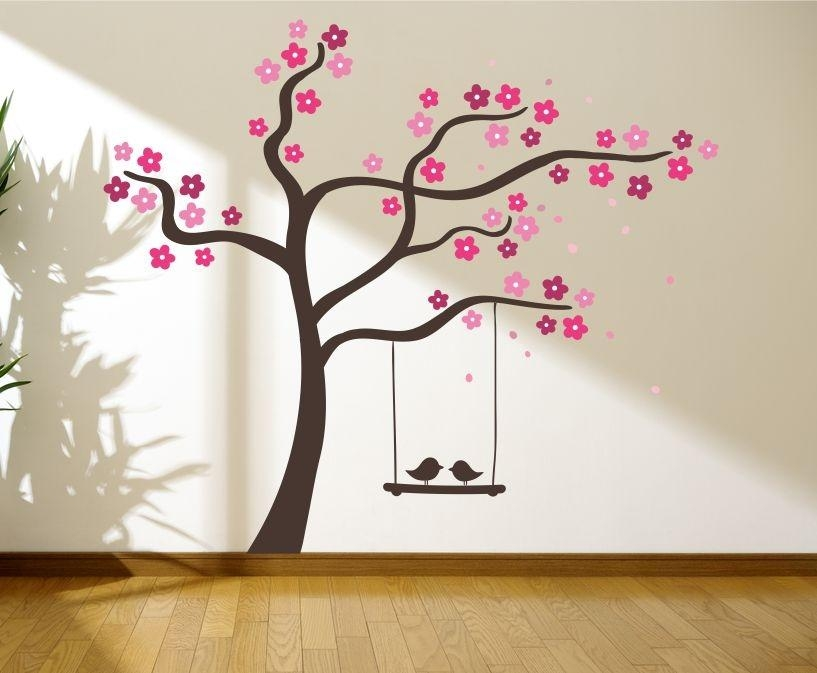 Tree With Love Birds On A Swing Wall Graphics, Wall Graphic, Tree Pertaining To Vinyl Wall Art Tree (View 14 of 20)
