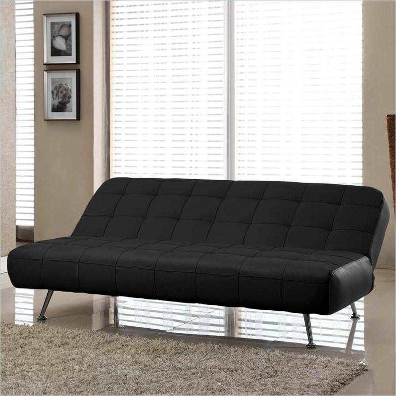 Tribeca Euro Sofa Bed Bonded Leather Blacklifestyle Solutions Intended For Euro Sofa Beds (Image 17 of 20)