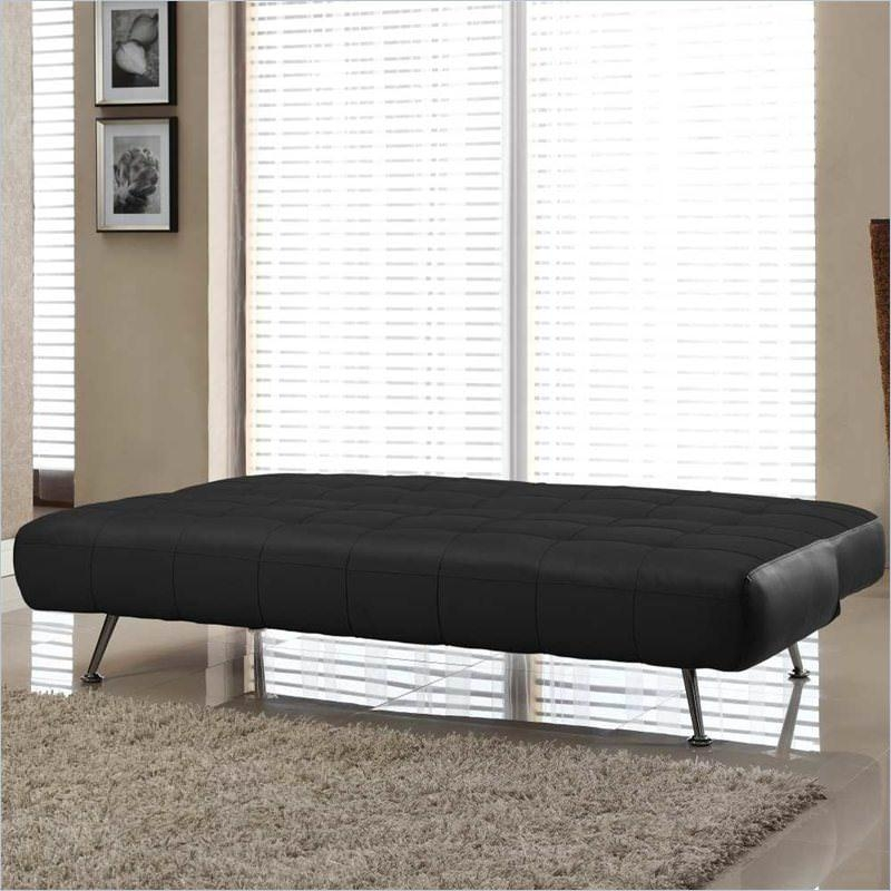 Tribeca Euro Sofa Bed Bonded Leather Blacklifestyle Solutions Throughout Euro Sofa Beds (Image 18 of 20)