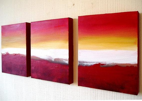 Triptych Art 3 Panel Wall Art Colour Slats 69X30 In Three Panel Wall Art (Image 18 of 20)