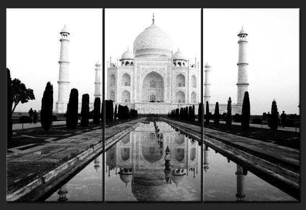 Triptych Contemporary Wall Art – Taj Mahal – Home Photo Deco Within Taj Mahal Wall Art (Image 19 of 20)