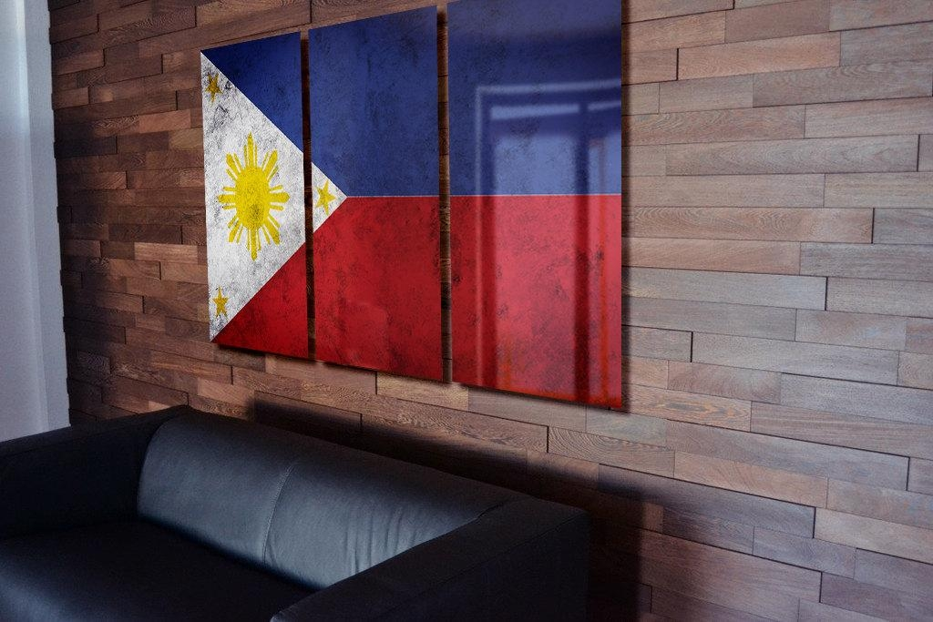 Triptych Philippine Flag Hanging Rustic Worn Metal Wall Art For Filipino Wall Art (Image 14 of 20)