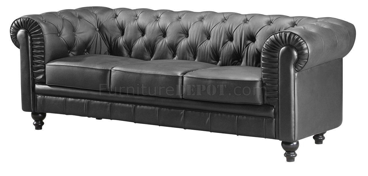 Tufted Leatherette Contemporary Living Room Sofa In Silver Tufted Sofas (View 8 of 20)