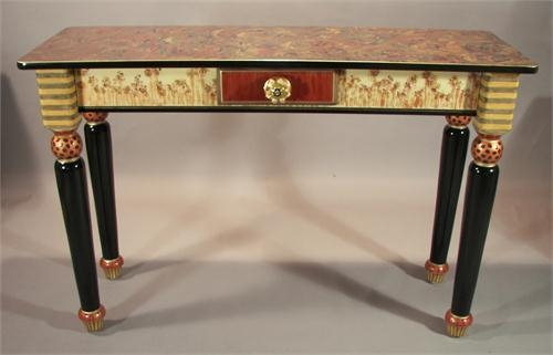 Turned Leg Sofa Table Copper Red From Suzanne Fitch Handpainted Intended For Red Sofa Tables (View 14 of 20)