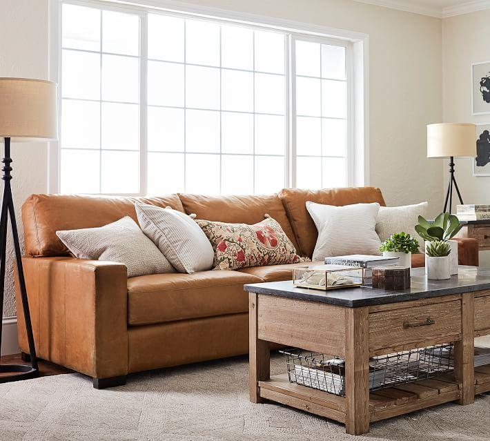 Turner Square Arm Leather Sofa | Pottery Barn Intended For Caramel Leather Sofas (View 7 of 20)