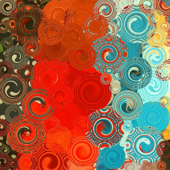 Turquoise And Red Swirls Square Abstract Art Print Home Regarding Red And Turquoise Wall Art (Image 18 of 20)