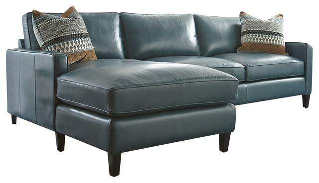 Turquoise Leather Sectional With Chaise Lounge – Transitional Within Blue Leather Sectional Sofas (Image 20 of 20)