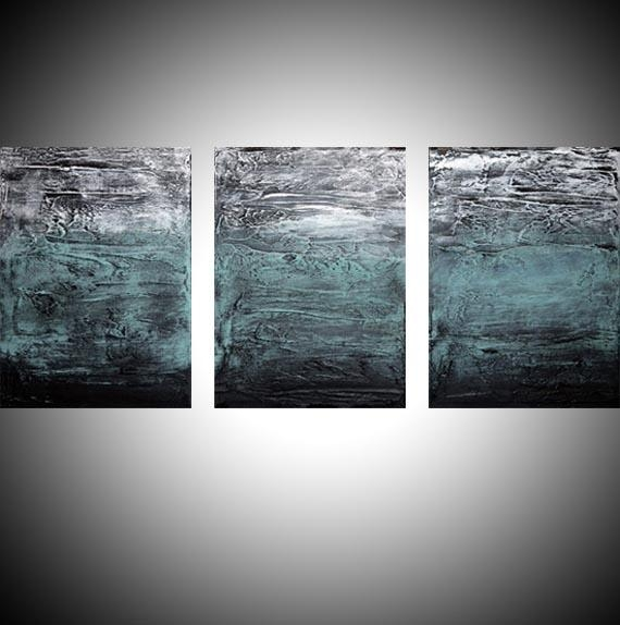 "Turquoise Triptych"" Abstract Artists Triptych Art On Canvas Throughout Triptych Art For Sale (View 2 of 20)"