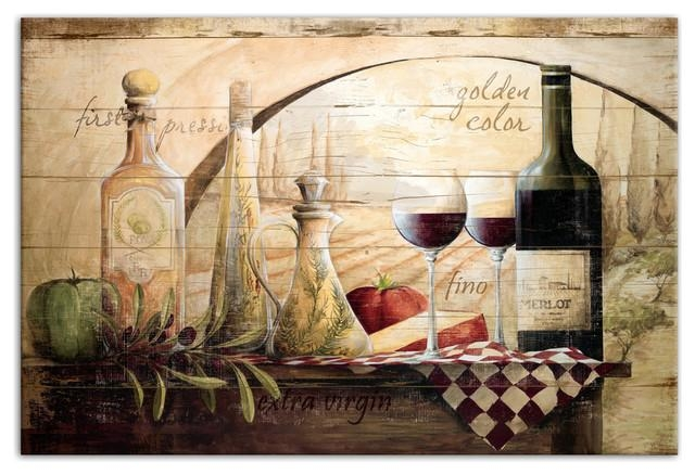 Tuscan Vineyard Wine Canvas Wall Art – Farmhouse – Prints And Throughout Vineyard Wall Art (Image 10 of 20)