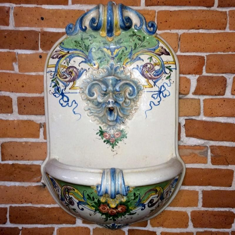Tuscan Wall Fountain With Roses – Italian Pottery Outlet Intended For Italian Ceramic Wall Art (Image 19 of 20)