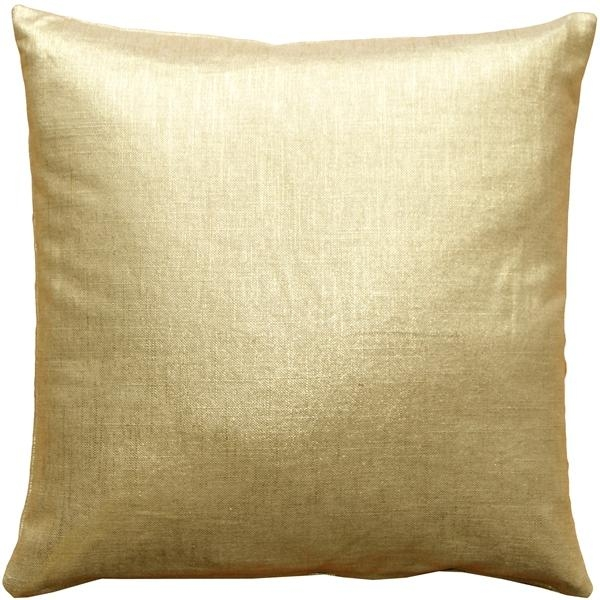 Tuscany Linen Gold Metallic 16X16 Throw Pillows Intended For Gold Sofa Pillows (Image 19 of 20)