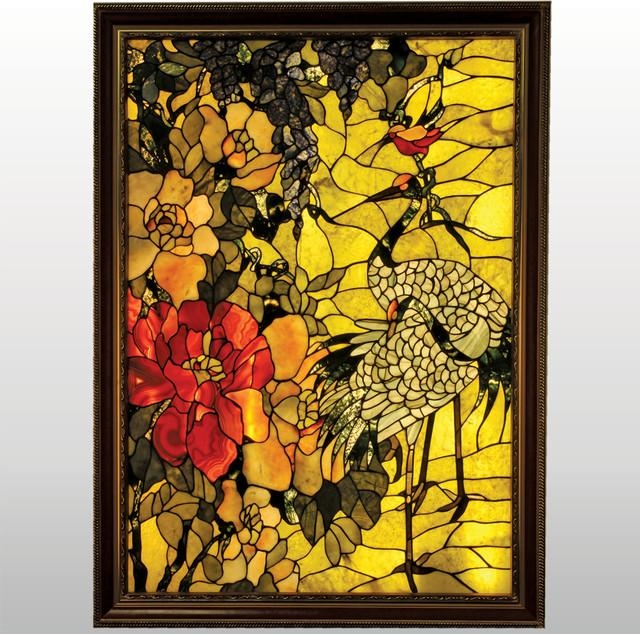Twin Cranes And A Humming Bird Framed Backlit Gemstone Art Nouveau Throughout Gemstone Wall Art (Image 17 of 20)
