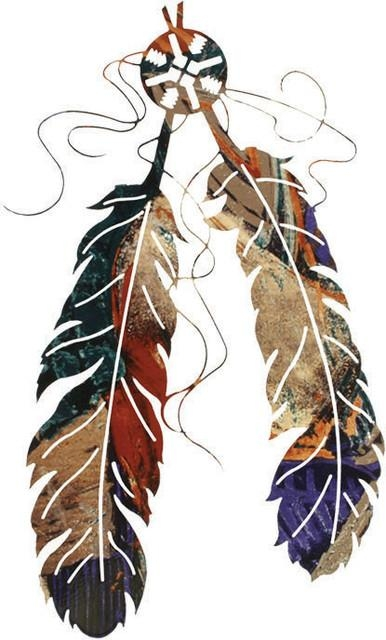 "Two Feather Southwest Rustic Metal Wall Art 18"" – Southwestern With Southwest Metal Wall Art (View 16 of 20)"