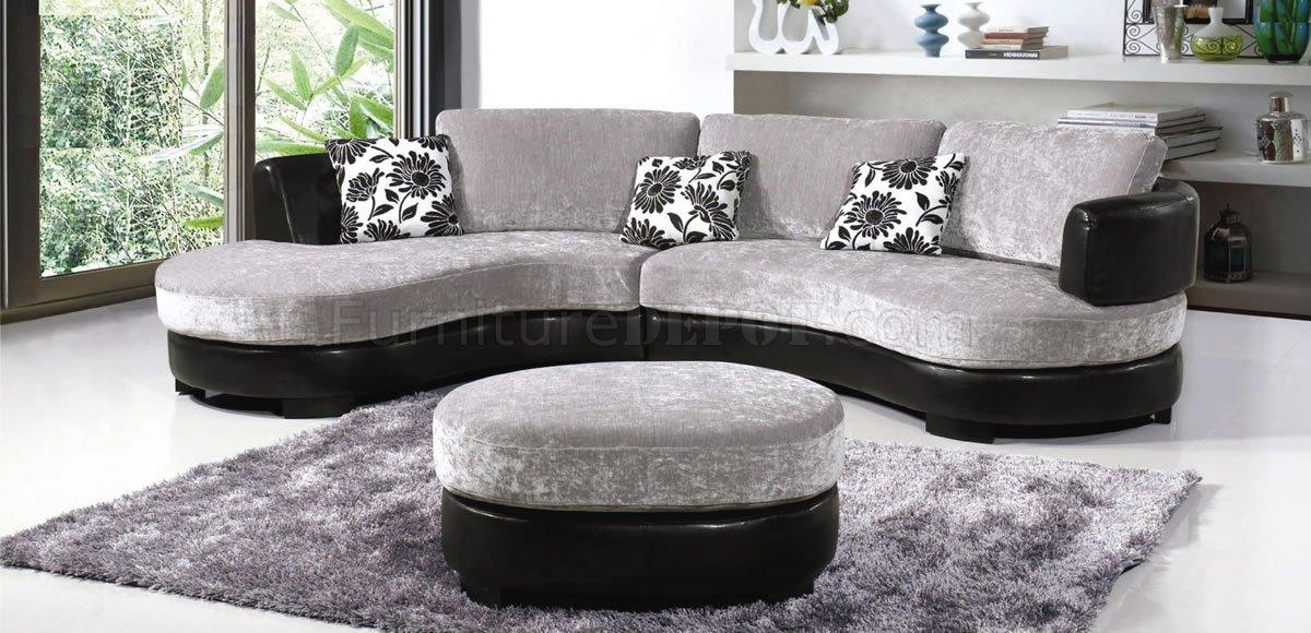 Two Tone Grey & Black Modern Sectional Sofa W/ottoman Within Black Modern Sectional Sofas (Image 19 of 20)