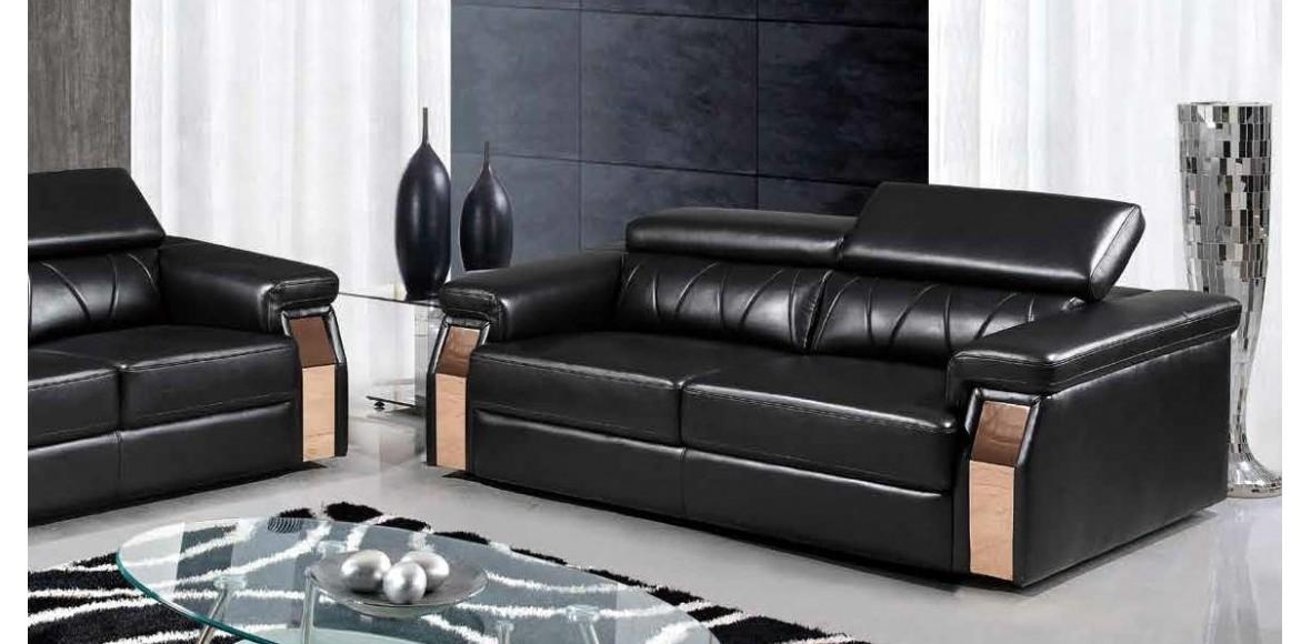 U8012 Black Leather Sofa Set Global Furniture 3Pc Within Black Leather Sofas And Loveseat Sets (View 11 of 20)