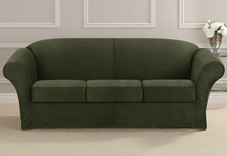 Ultimate Heavyweight Stretch Suede Separate Seat Sofa Slipcovers Pertaining To Stretch Slipcover Sofas (Image 20 of 20)