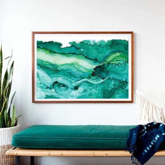 Undercurrent Emerald Ink: Framed Art Print Ocean Art Surf Intended For Oversized Framed Art (Image 18 of 20)