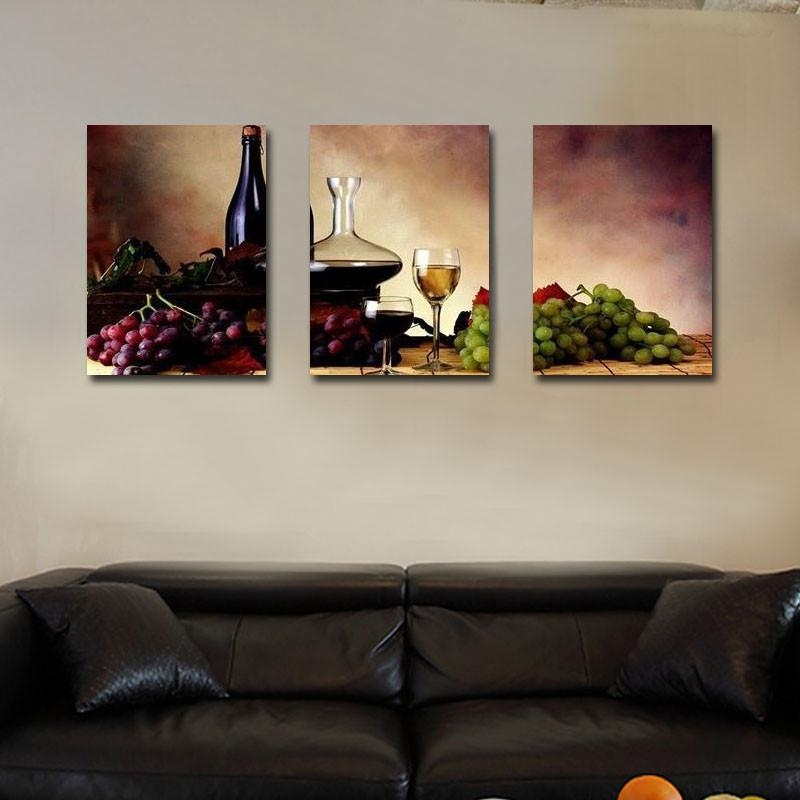 Unframed 3 Panel Retro Abstract Wine Grape Fruit Vintage Home Wall Regarding Grape Wall Art (Image 19 of 20)