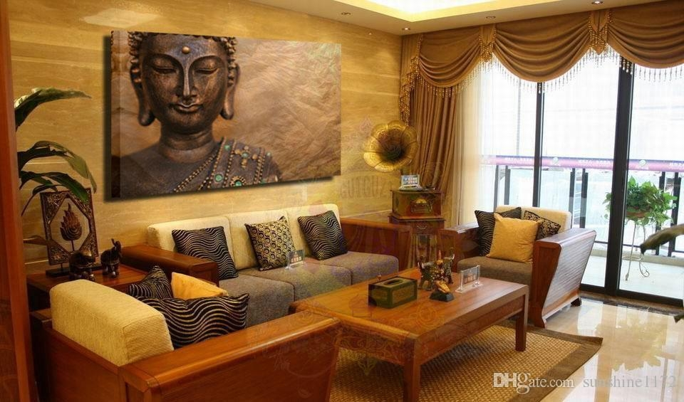 Unframed Prints Painting Single Canvas Buddha Wall Art Decor Large Inside Large Buddha Wall Art (Photo 18 of 20)